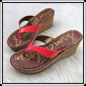 * Sam Edelman Romy Cork Wedge Sandals * Leather